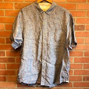 Tommy Bahama Blue Linen Button Down Shirt XL